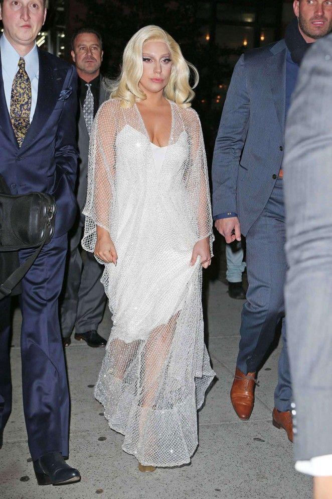 Lady Gaga in Long White Dress