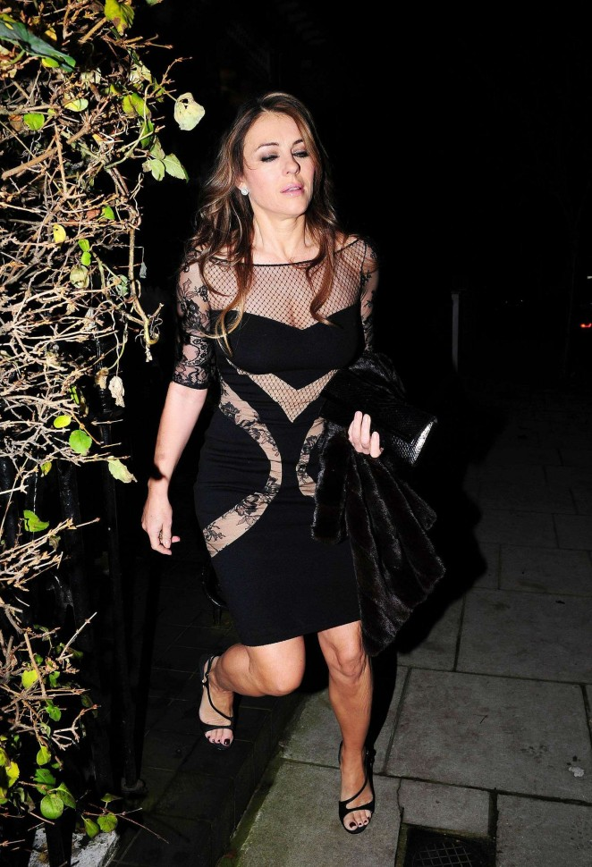Elizabeth Hurley in Black Mini Dress