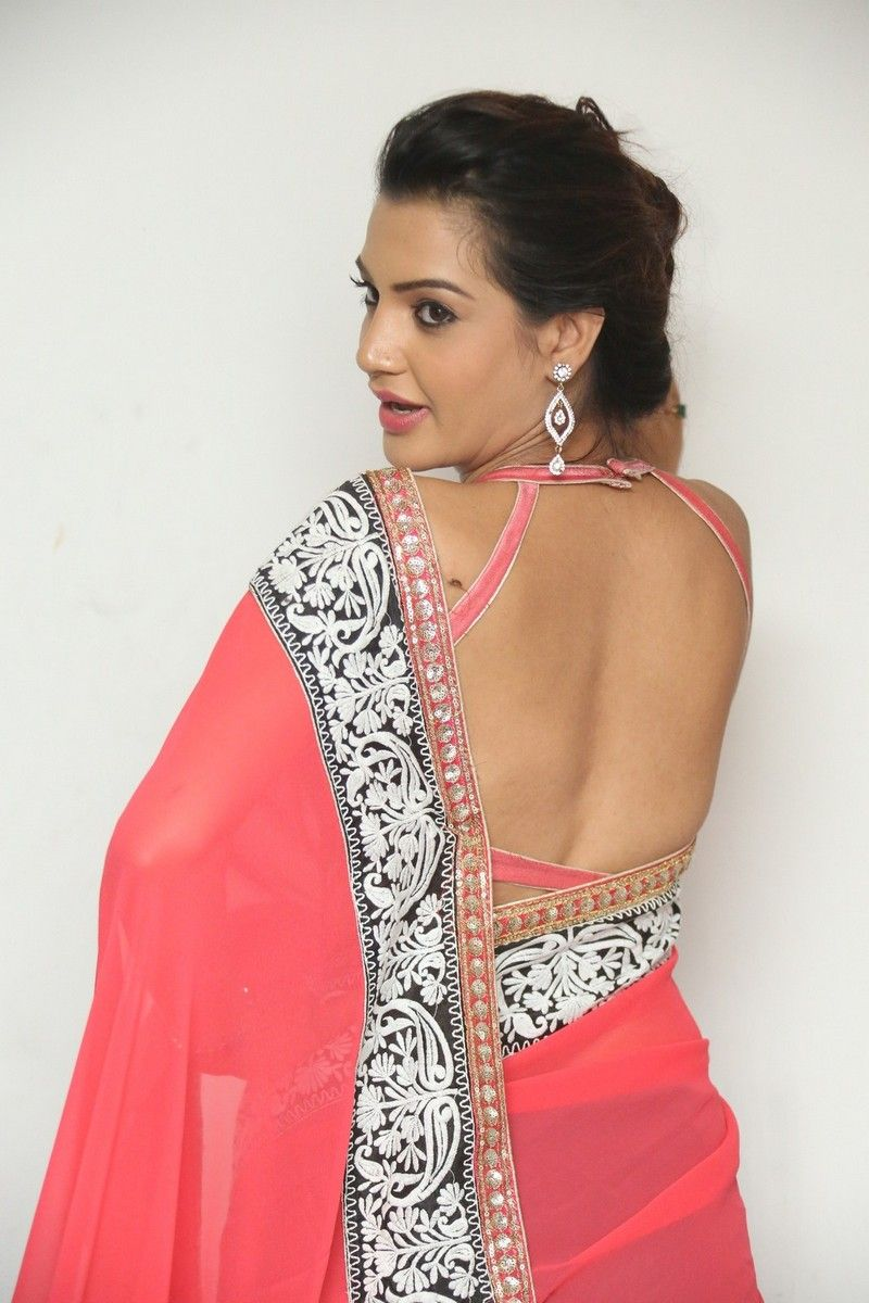Diksha panth in backless saree blouse