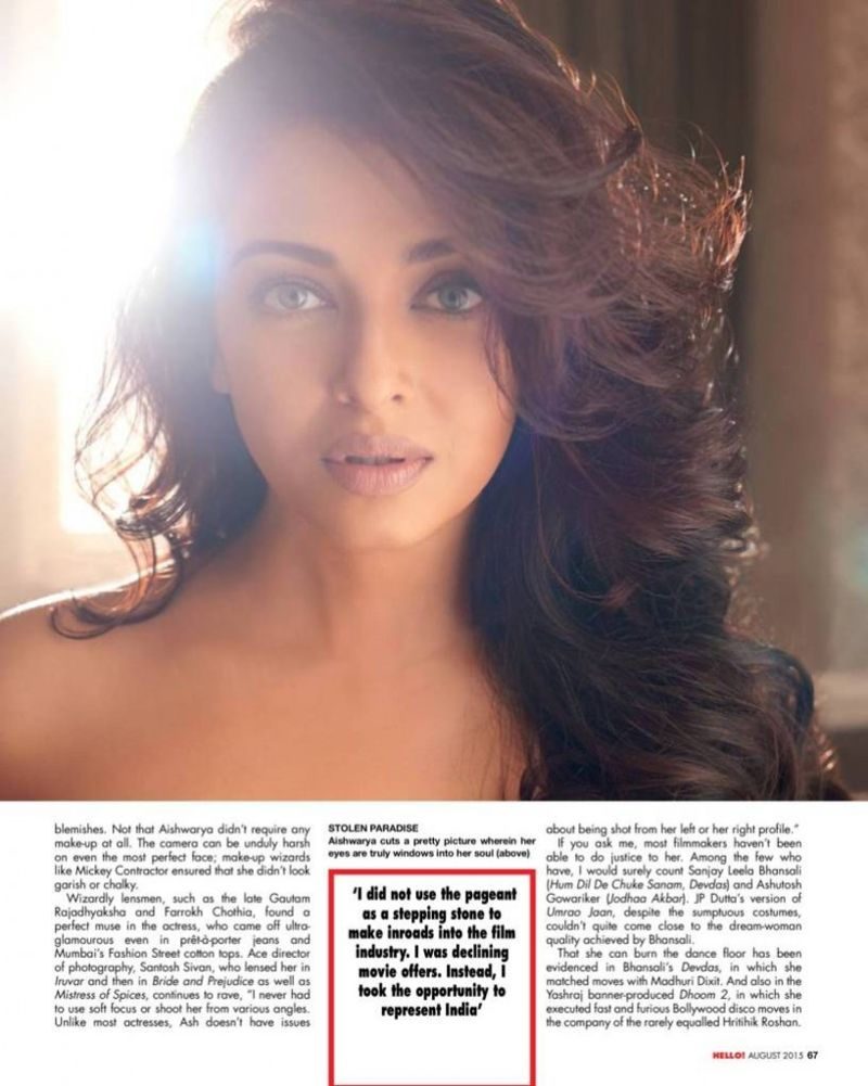 Aishwarya Rai Hello! India Magazine August 2015 Pics