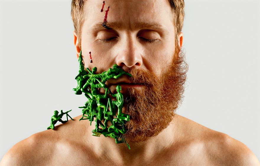 Artist Completes Half-shaved Beard With Random Objects