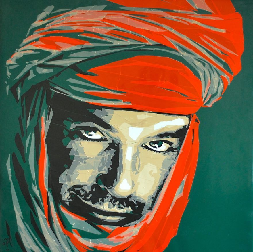Beautiful Portraits by Packing Tape Of Moroccan People