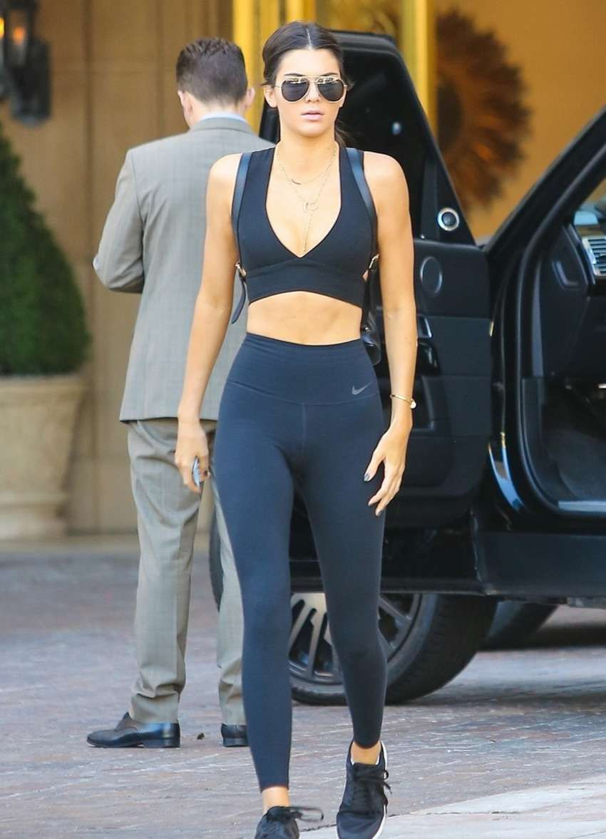 Kendall Jenner Going to Sugarfish in Black Sports Bra