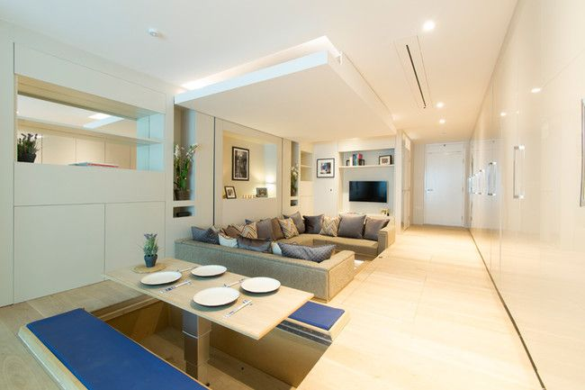 Modern Living Room Comes with Many Secrets