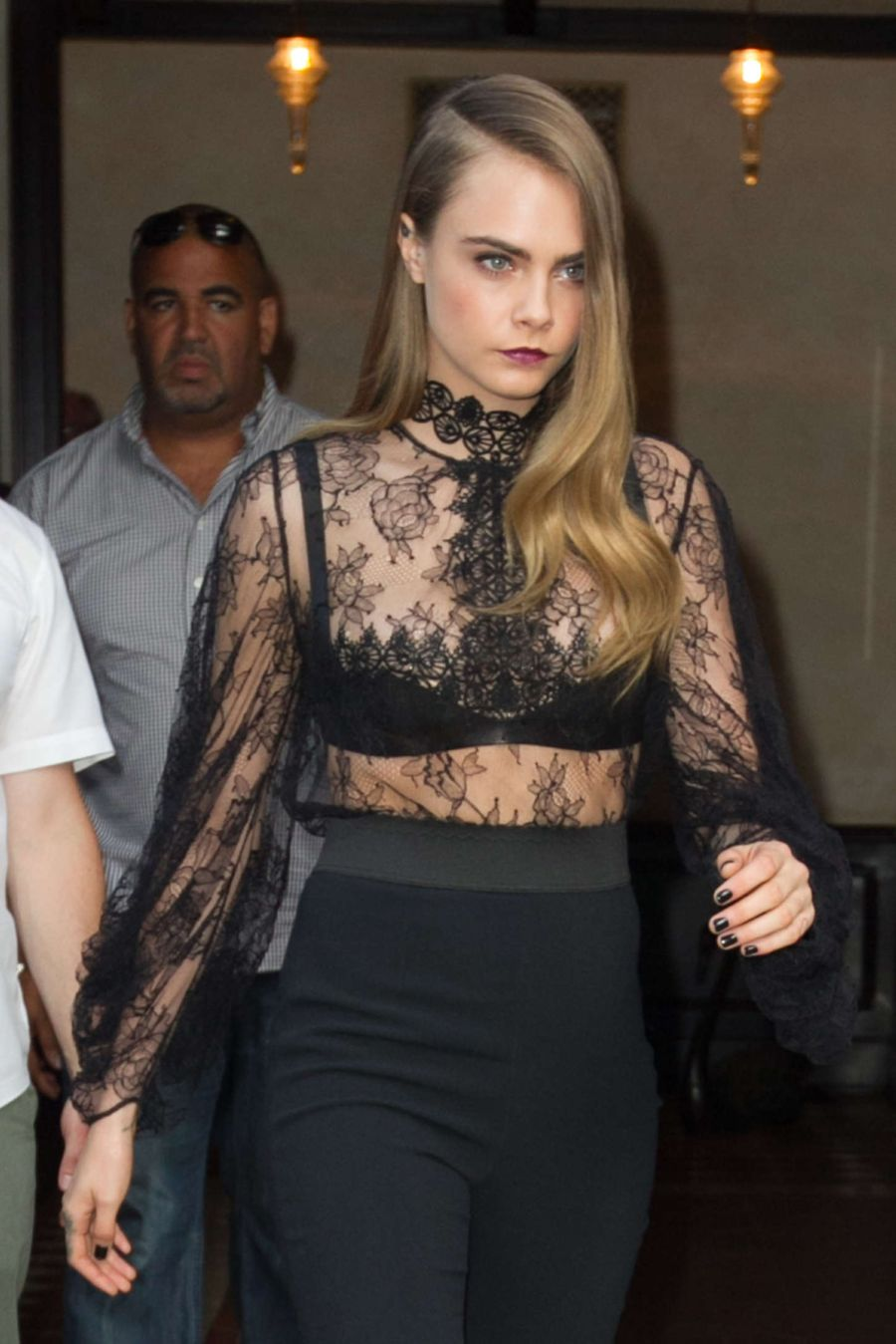 Cara Delevingne - Leaving her NY Hotel in Hot Black Top
