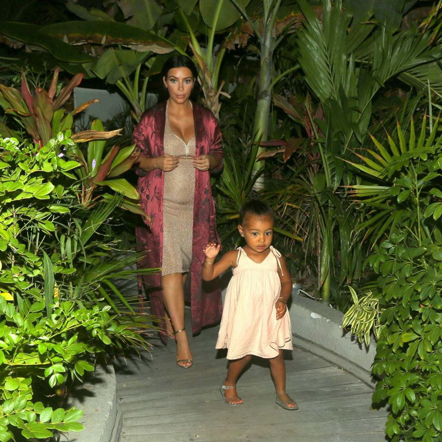 Kim Kardashian with North out in St. Bart's