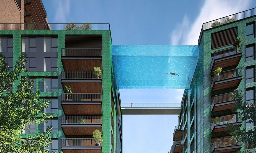 "World's First Glass-Bottom ""Sky Pool"" 115 Feet Above London"