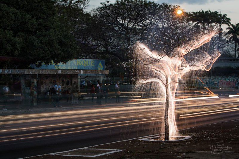 Long Exposure Light Painting with Fireworks