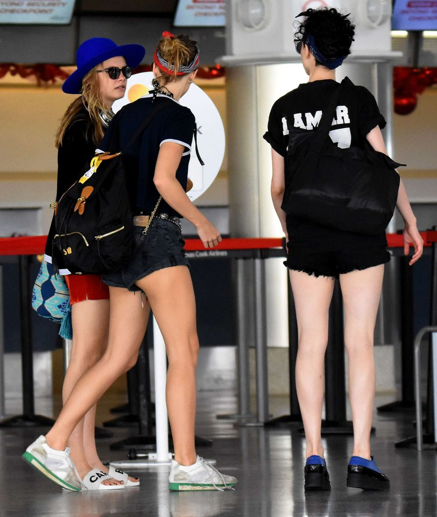 Cara Delevingne at the airport in Barbados