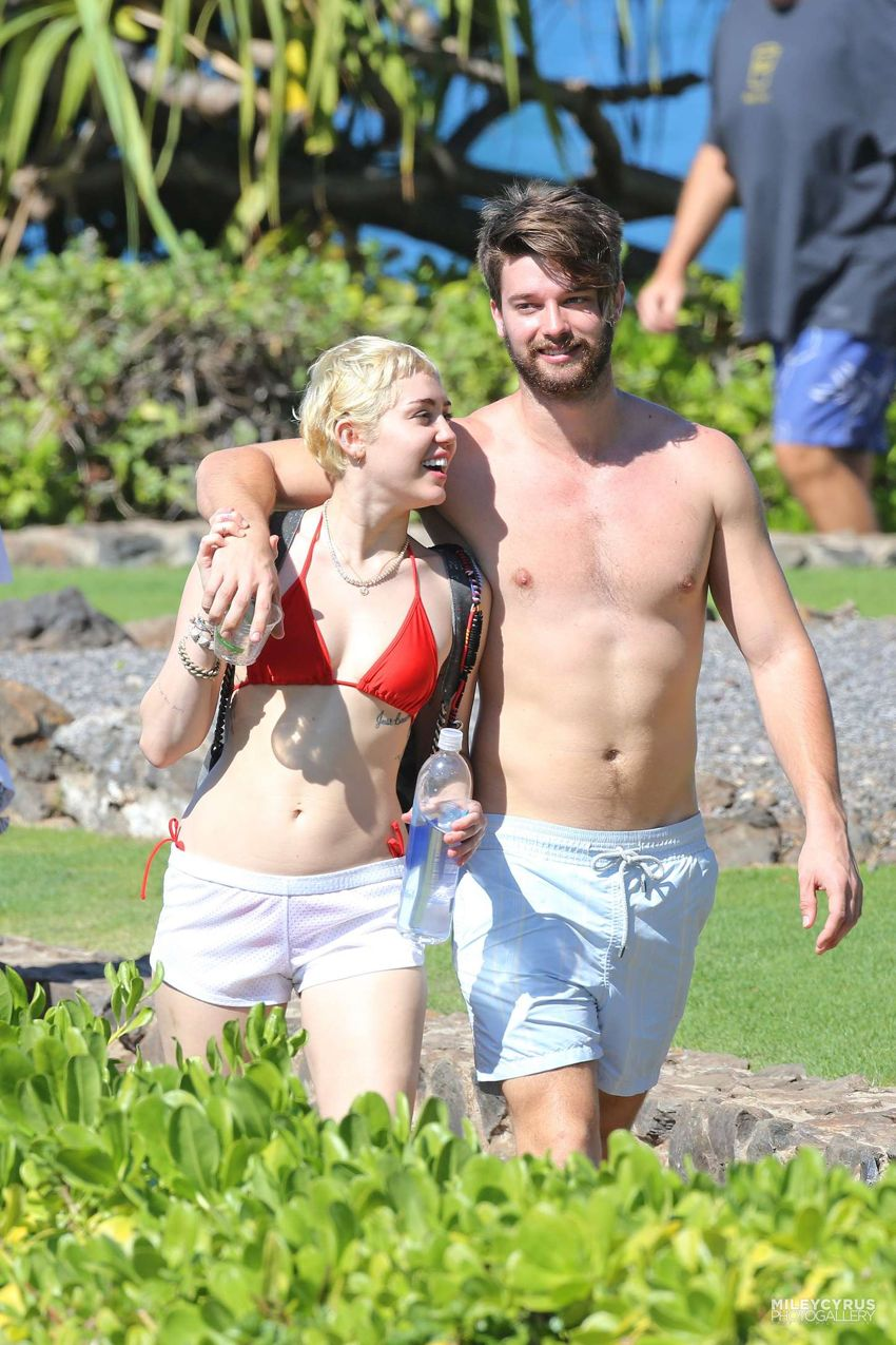 Miley Cyrus in Red Bikini Top