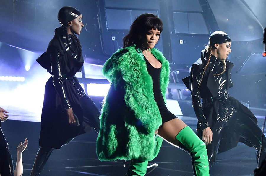 Rihanna Rocks Music Awards in Versace Fur Coat