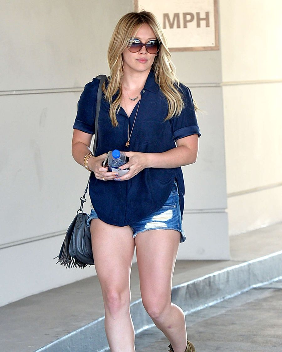 Hilary Duff in Denim Shorts Out and about in Beverly Hills