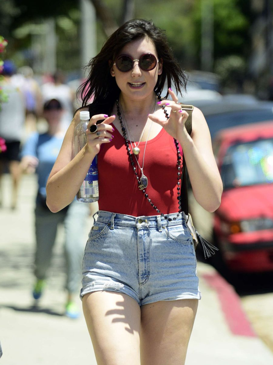 Daisy Lowe in Red Top and Shorts out in LA