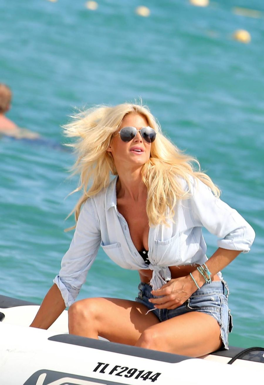 Victoria Silvstedt in Denim Shorts out in St. Tropezt