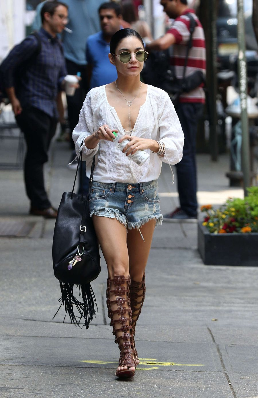 Vanessa Hudgens in Denim Shorts out in Soho