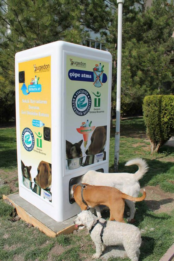 Machine Feeds Stray Animals for Recycled Bottles