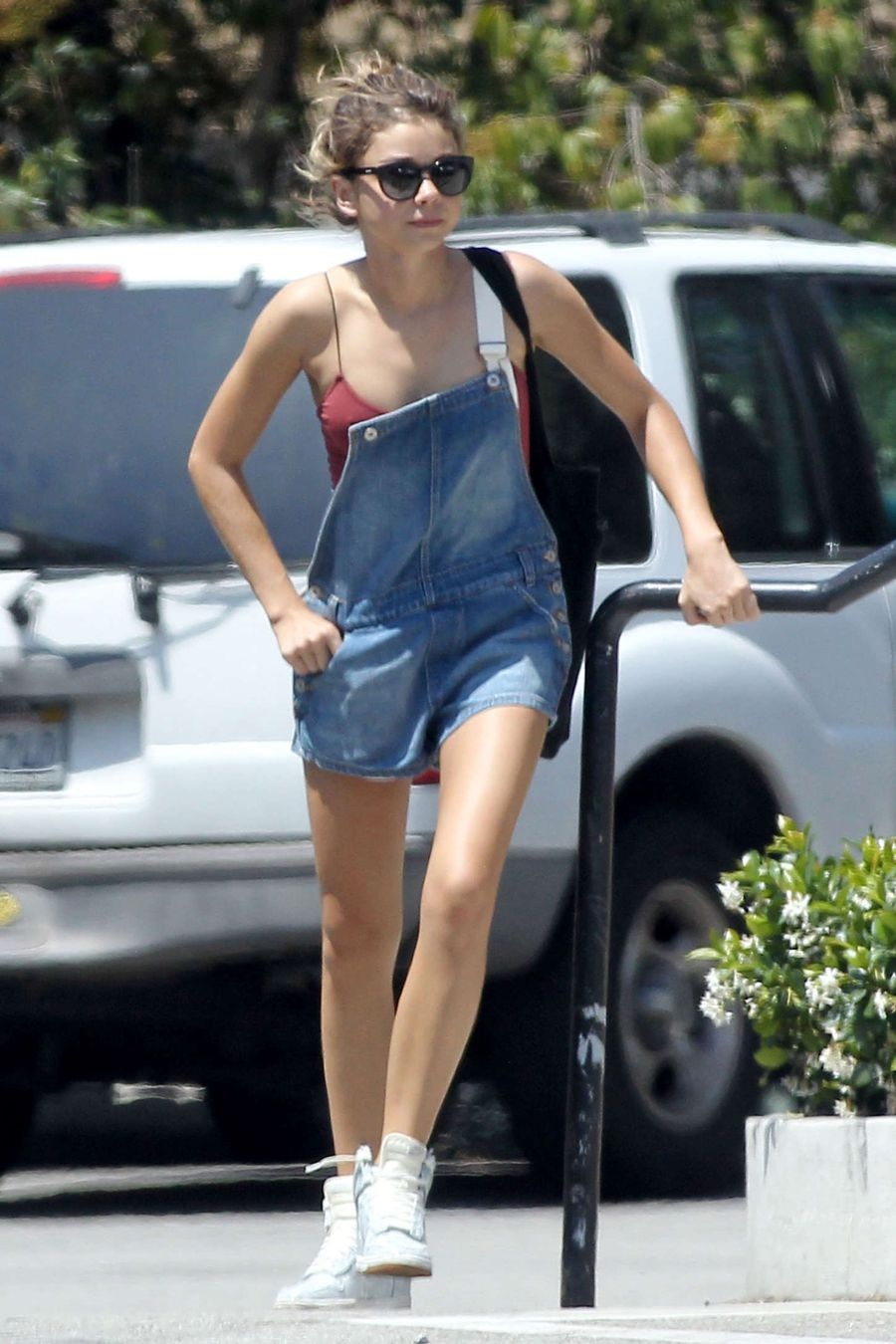 Sarah Hyland - Shopping in a Dungaree in LA