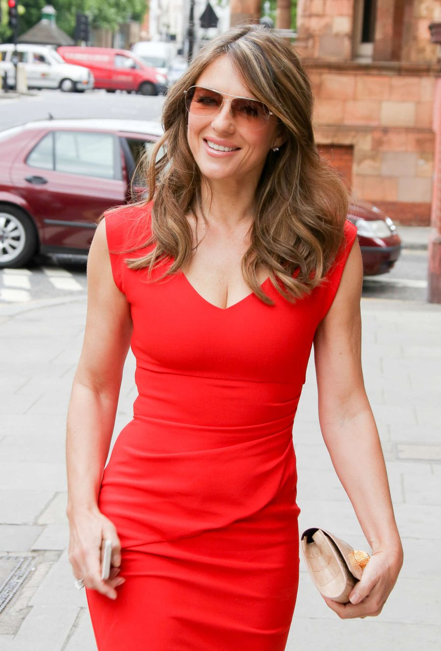 Elizabeth Hurley Out on Birthday Lunch in London