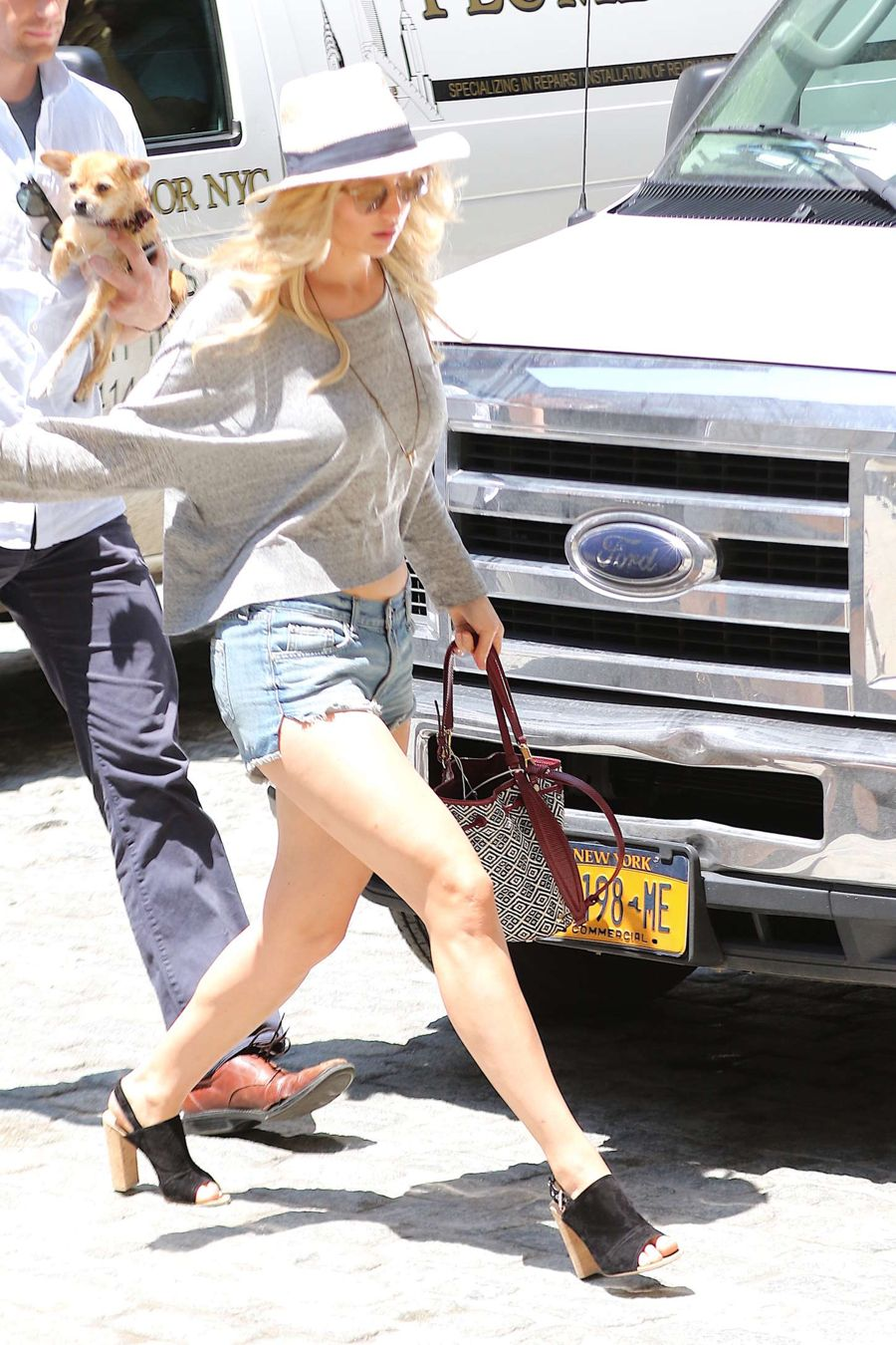 Jennifer Lawrence in Jeans Shorts Out in NYC