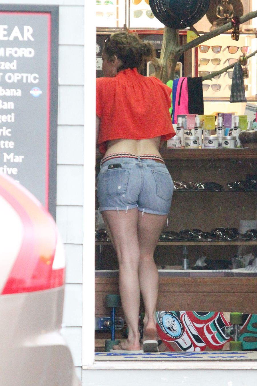 Jennifer Lopez in Denim Shorts Out in Long Island