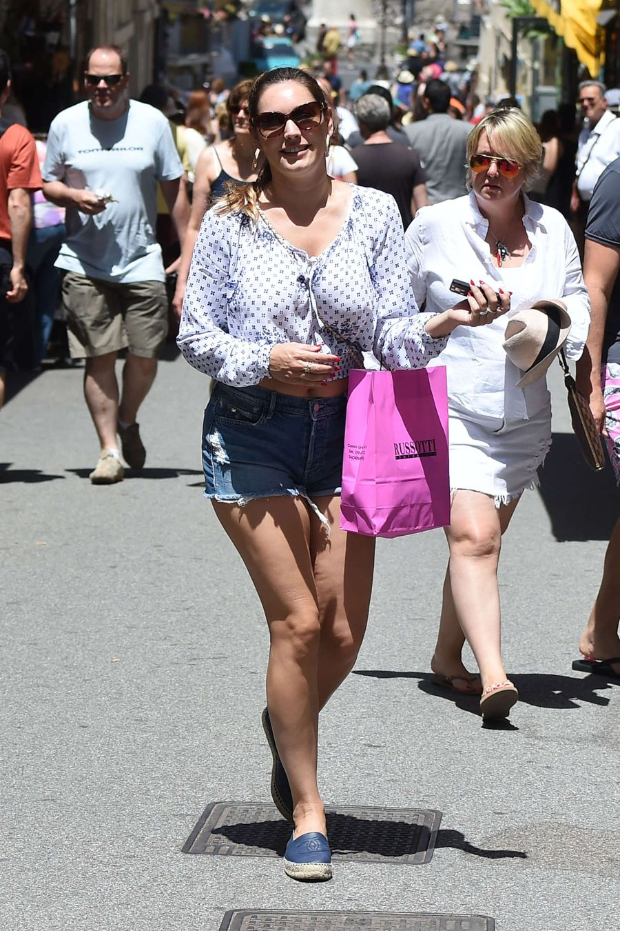 Kelly Brook Looks Amazing in Denim Shorts in Taormina