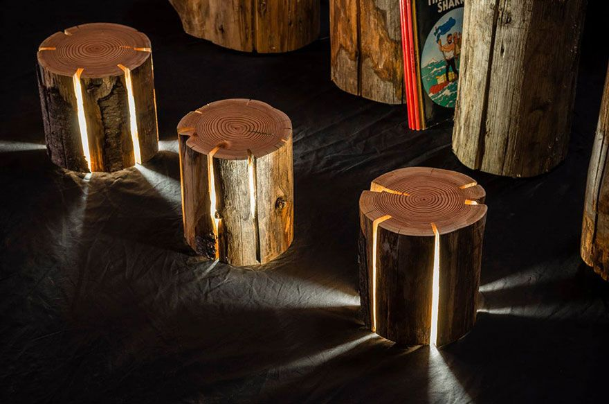 Legally Blind Artist Makes Cracked Log Lamps
