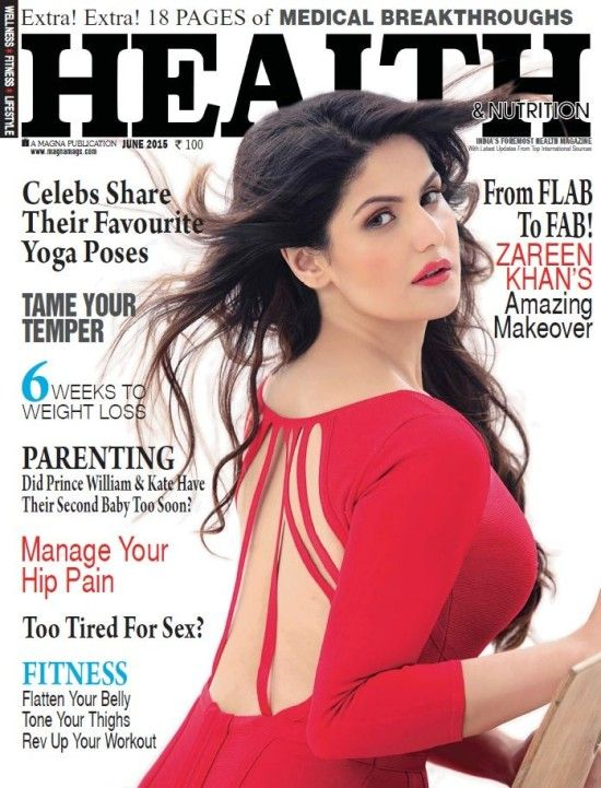 Zarine Khan on Cover Health and Nutrition Magazine June 2015