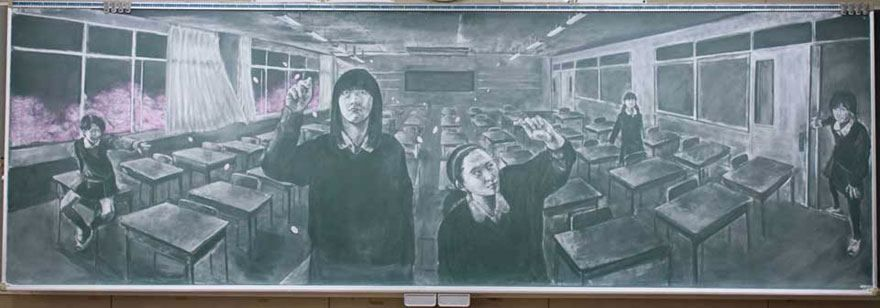 Japanese Students Draw Stunning Chalkboard Art
