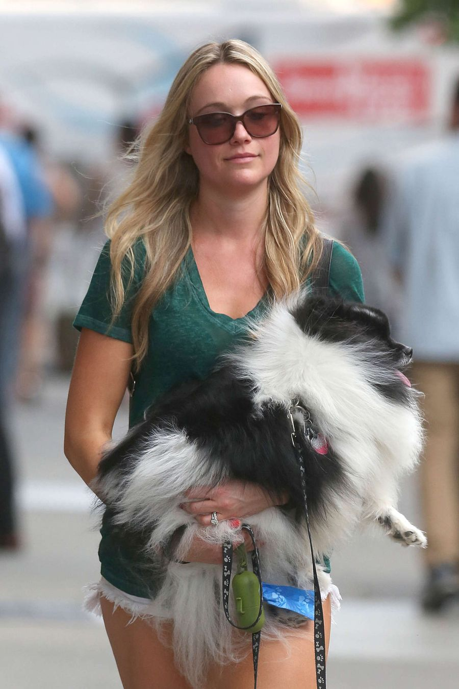Katrina Bowden Walking her Dog in White Shorts in NYC