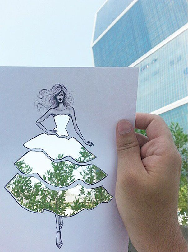 Fashion Illustrator's Dresses With Clouds And Buildings