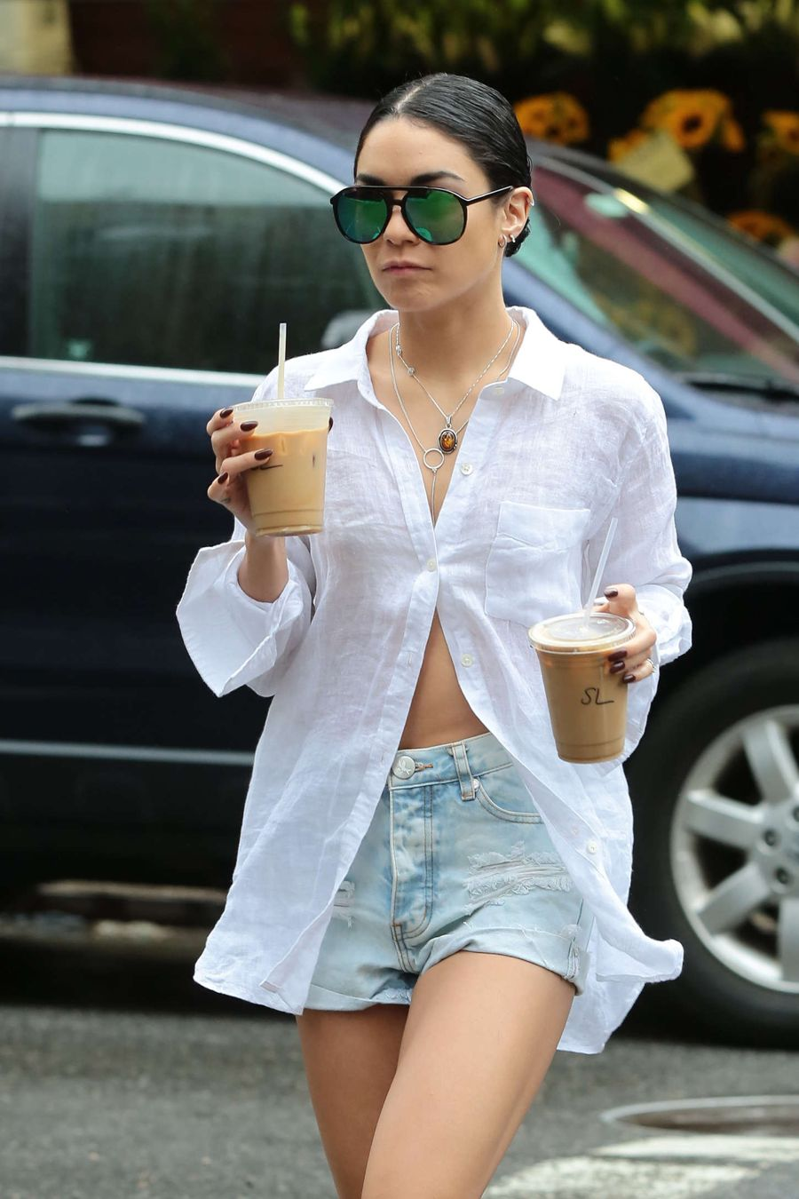 Vanessa Hudgens in Shorts and Shirts Out in NYC