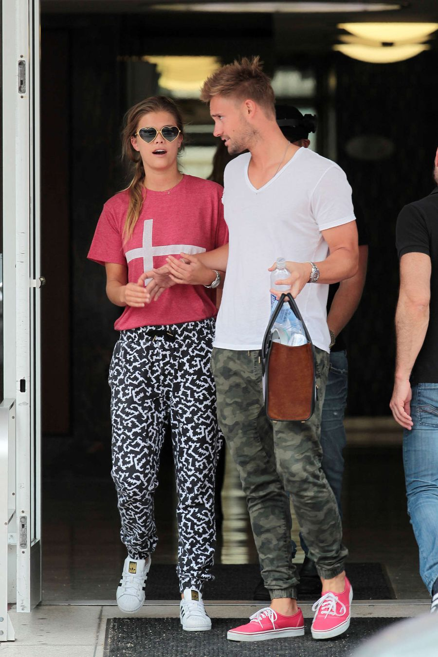 Nina Agdal Leaving the Dentist Clinic in Heart Goggles