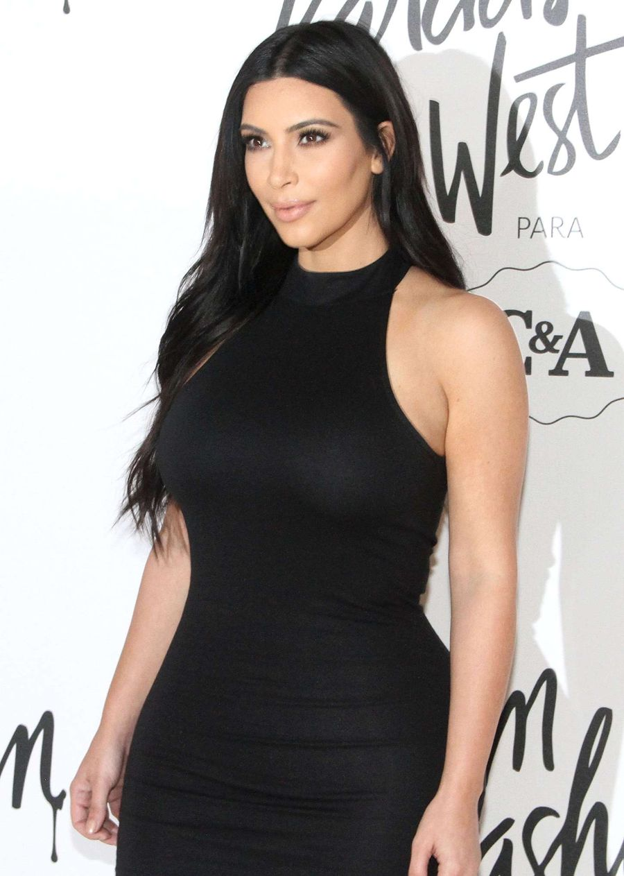 Kim Kardashian Stuns in Black Dress in Sao Paulo