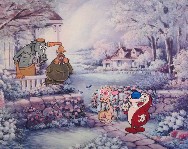 Random Characters Painted In Old Thrift Store Paintings