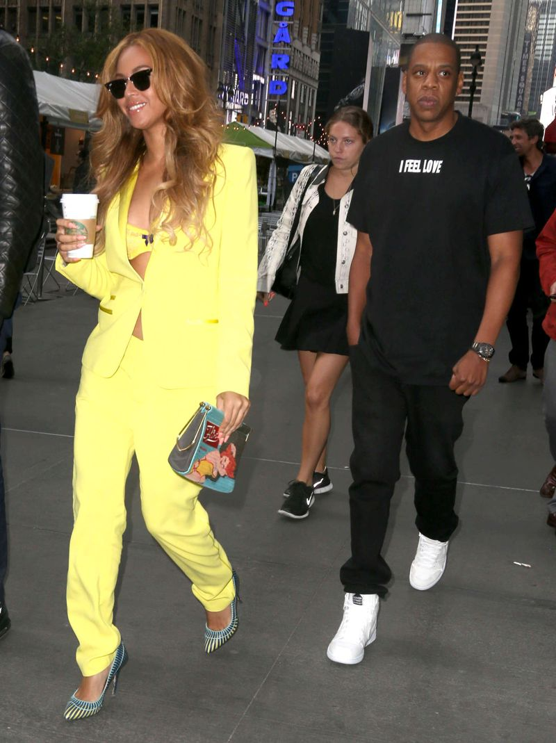 Beyonce in trouser suit out with Jay Z in NYC