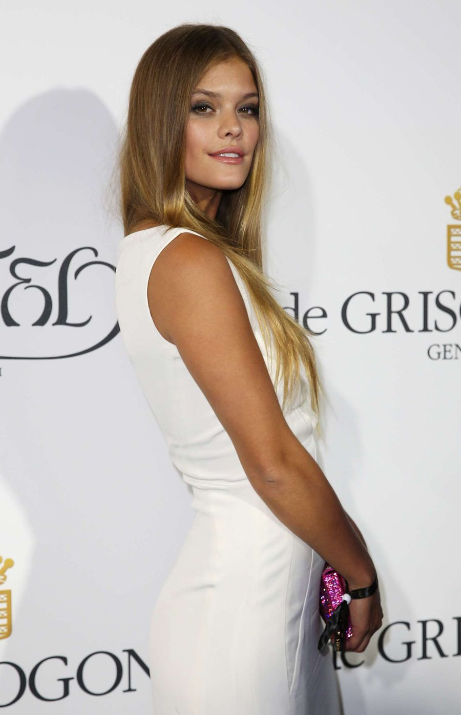 Nina Agdal in Racy Column Gown in a  Party in Cannes