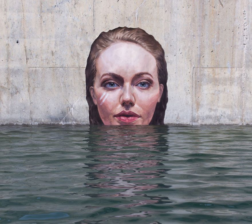 Stunning Seaside Murals While Balancing On A Surfboard