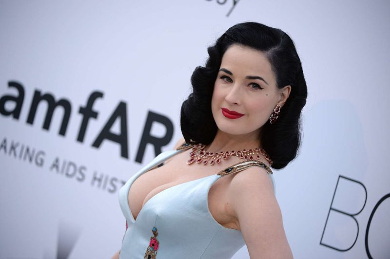 Dita Von Teese in Ulyana Sergeenko at the amfAR Cinema