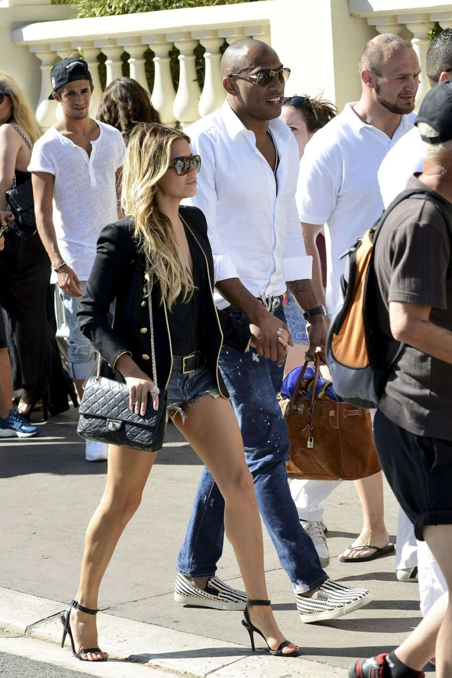Sylvie van der Vaart with Maurice Mobetie Out in Cannes