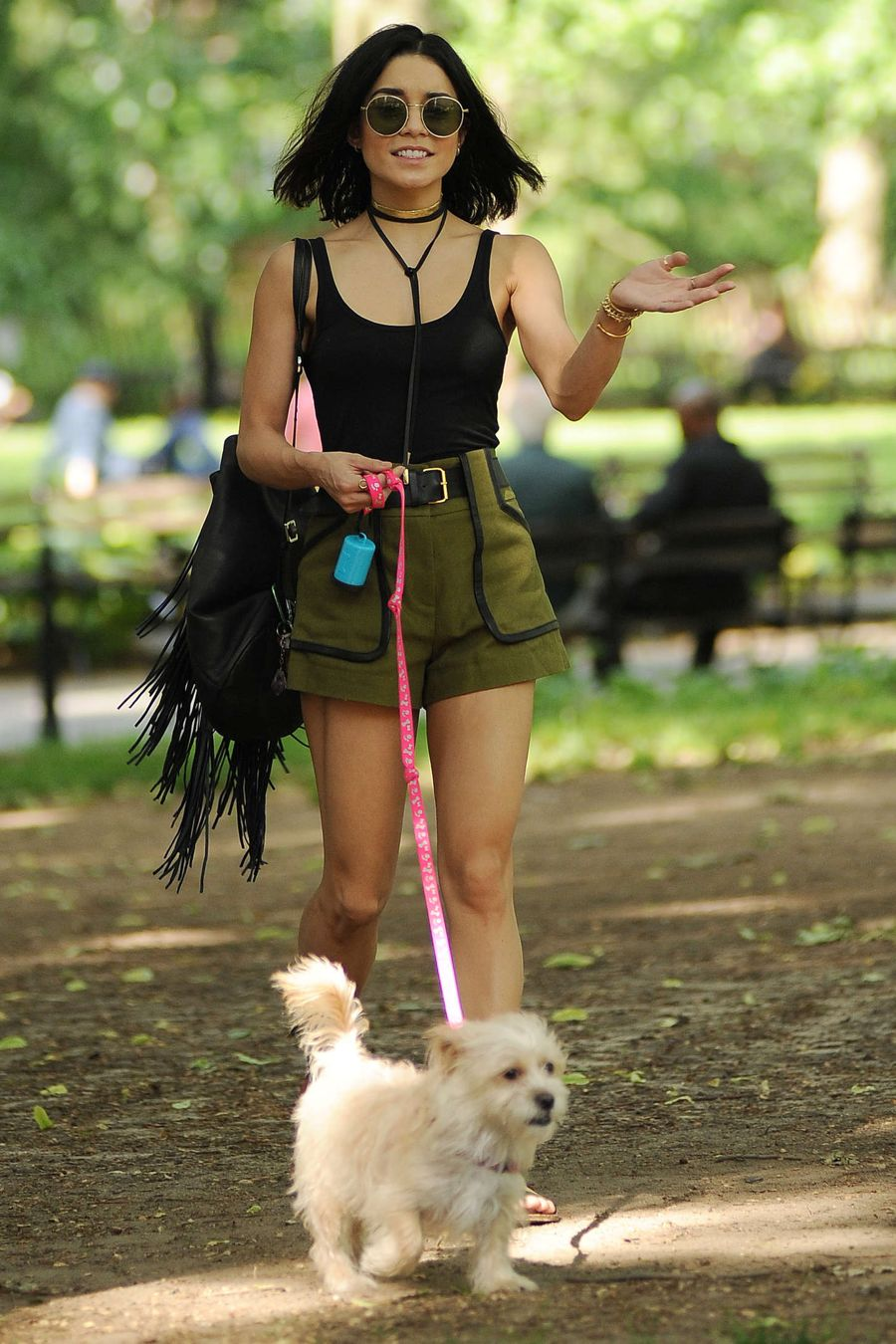 Vanessa Hudgens takes her dog Darla to a park in NYC