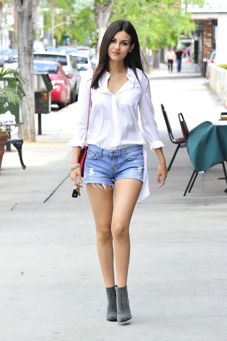 Victoria Justice in Denim Shorts Out in LA