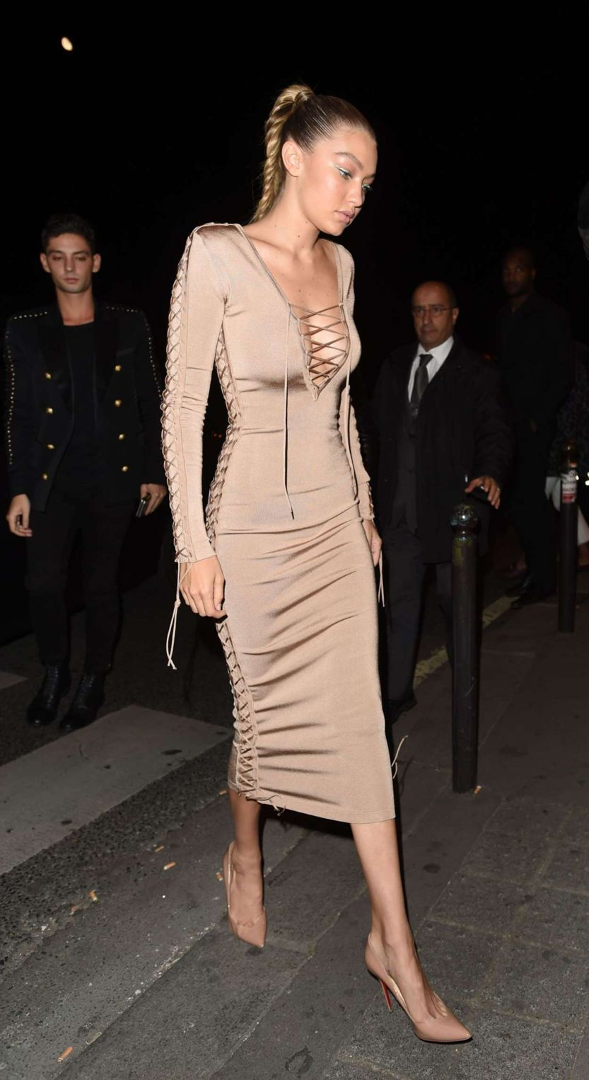 Gigi Hadid - Balmain Show After Party in Paris