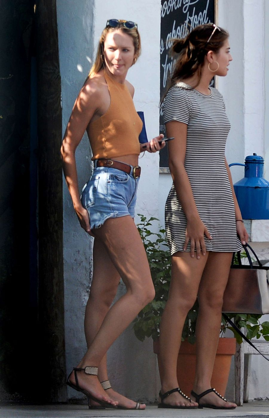 Candice Swanepoel in Denim Shorts out in Miami