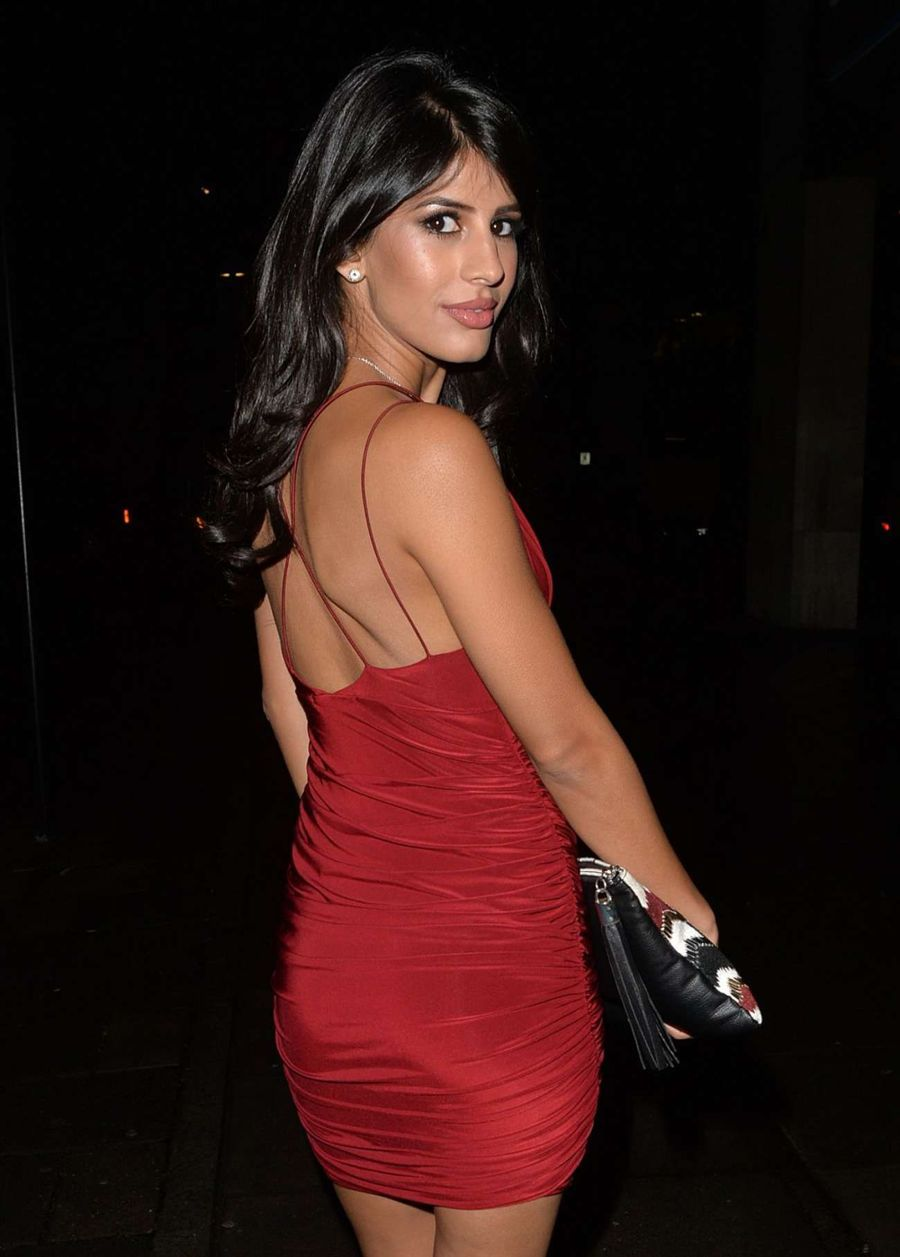 Jasmin Walia in Red Dress at STK Restaurant in London