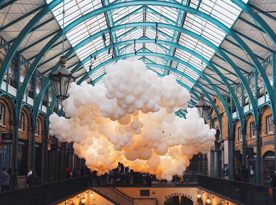 100,000 Balloons Floating Inside Covent Garden Market