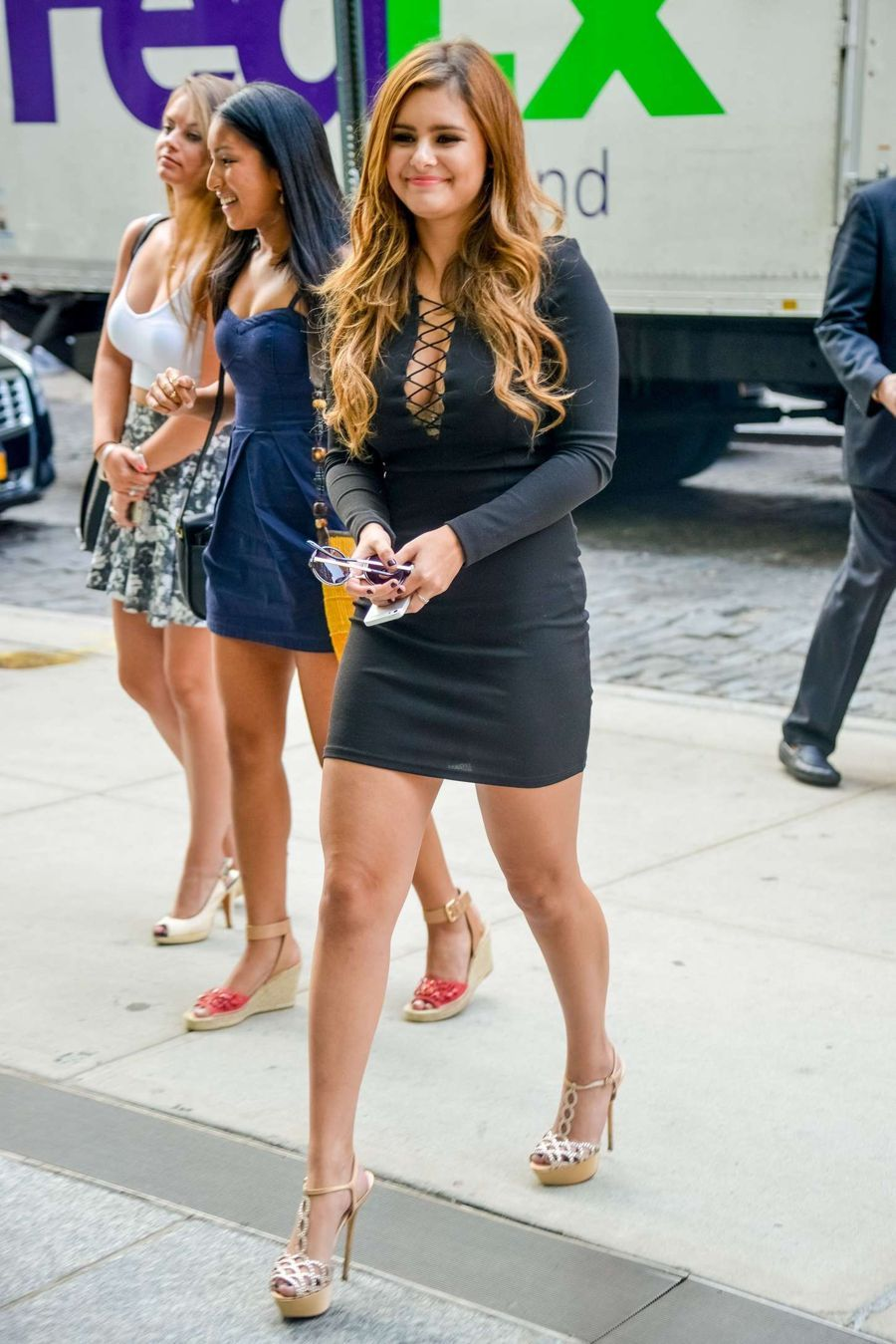 Jacquie Lee in Mini Dress Arrives at a hotel in NY