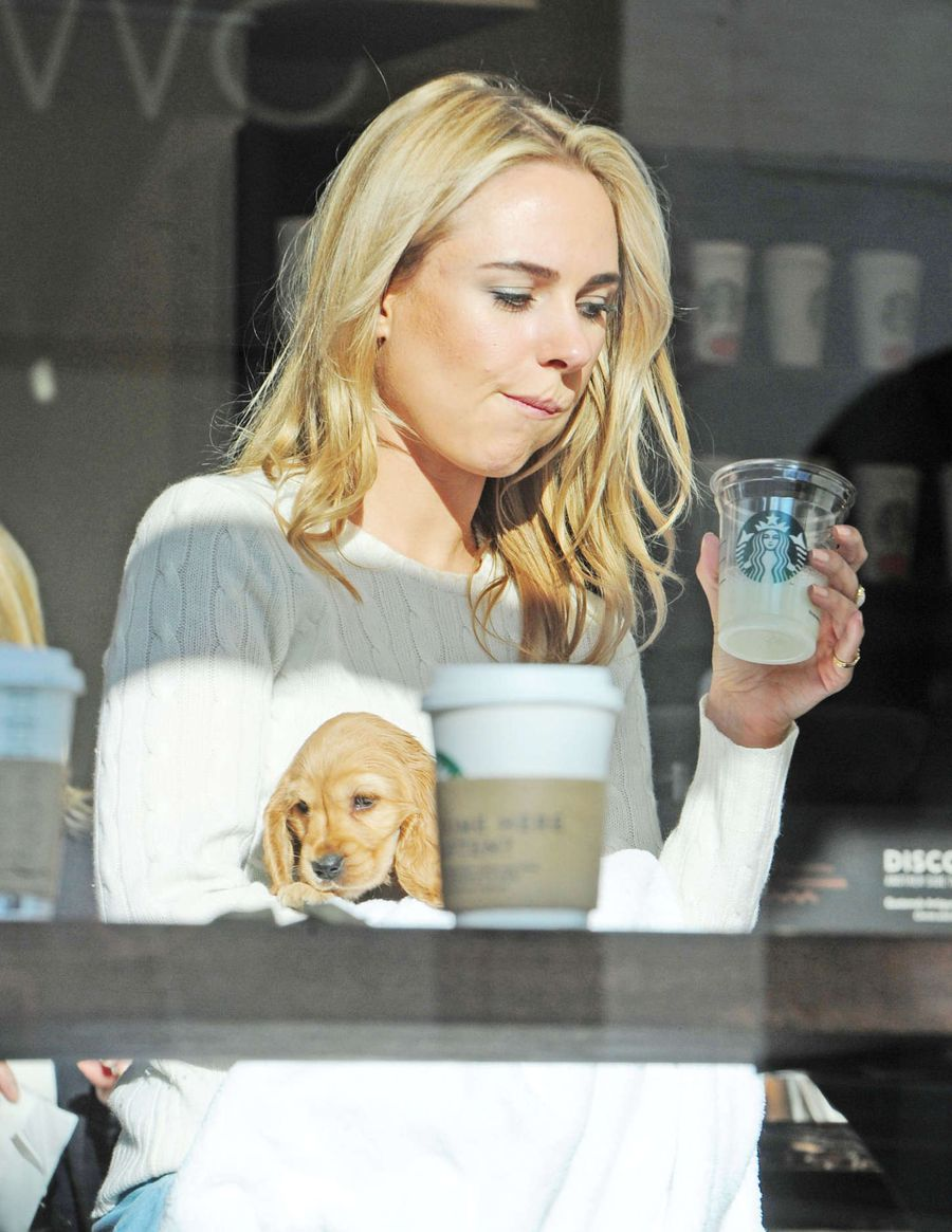 Kimberley Garner with her new Puppy in London