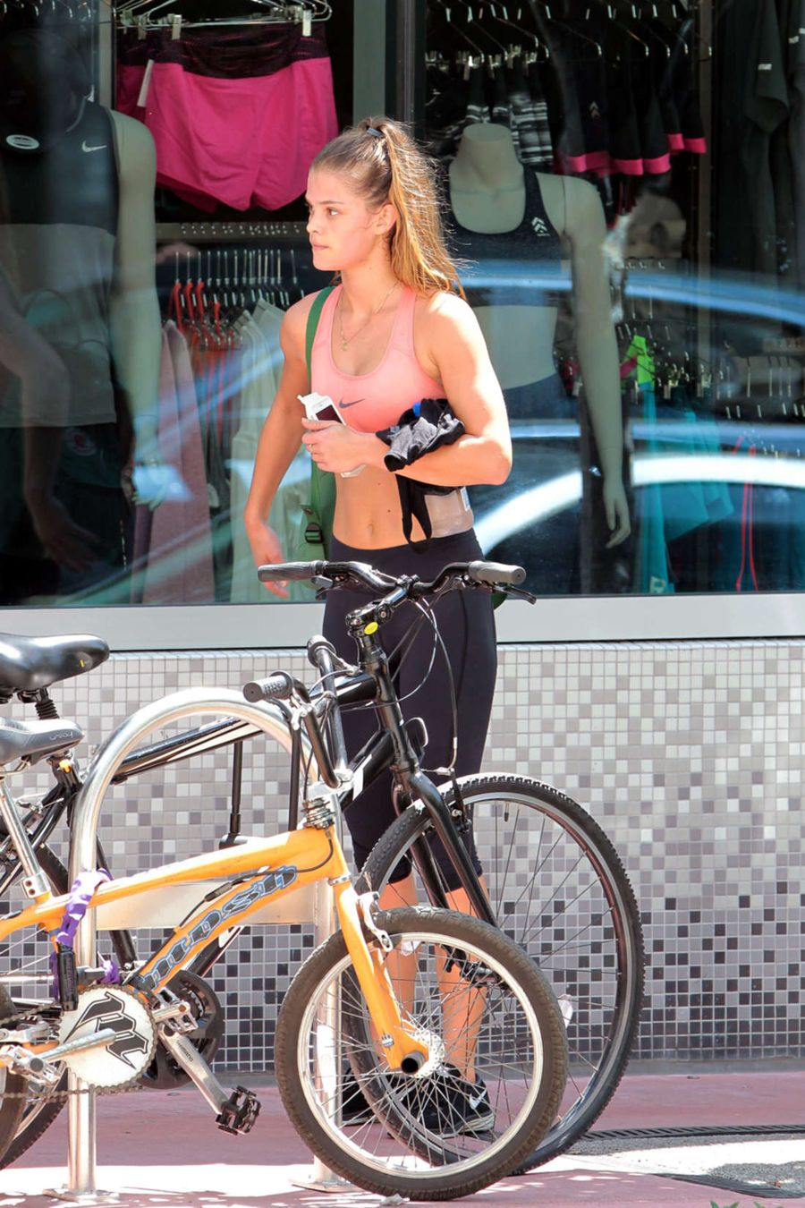 Nina Agdal in Tights Leaving the Gym