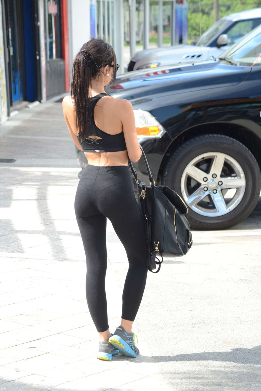 Lisa Opie in Tights Leaving a gym in Miami
