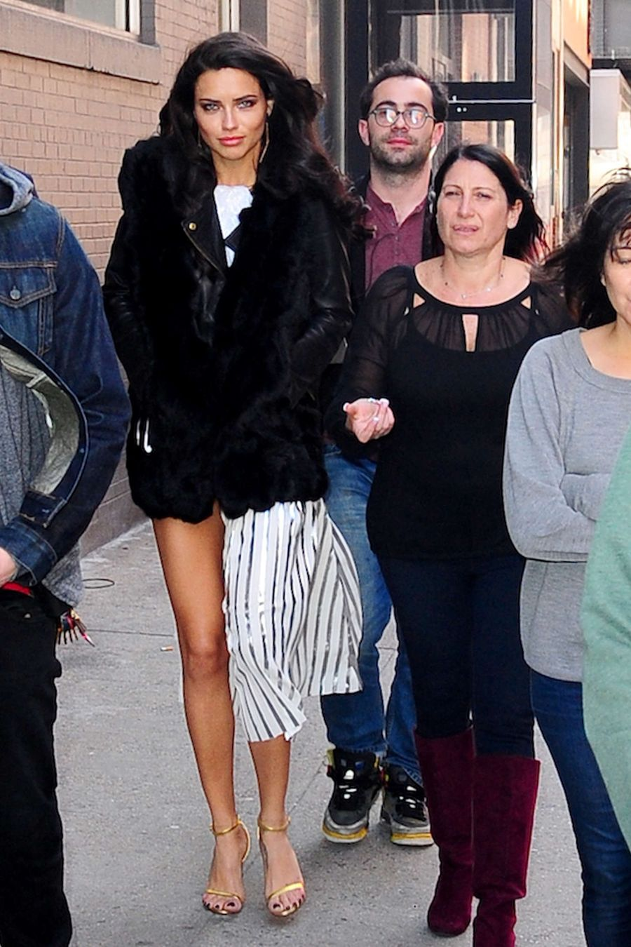 Adriana Lima in Fur Coat out in New York